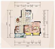 �R豪领逸2室2厅1卫75平方米户型图