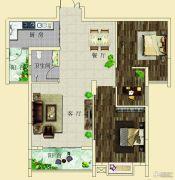 上海花园・新外滩2室2厅2卫88--90平方米户型图