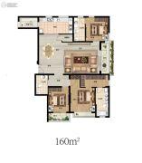 东润泰和3室2厅2卫160平方米户型图