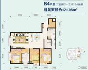 河畔阳光3室2厅1卫121平方米户型图