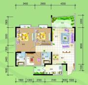 慢哉3室2厅2卫98平方米户型图