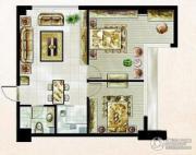 米拉公寓2室1厅1卫57平方米户型图