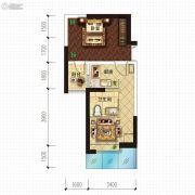 金沙星城1室1厅1卫46平方米户型图
