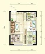 红晟陶然庭苑1室2厅1卫44平方米户型图