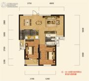 卧龙墨水湖边2室2厅1卫86平方米户型图