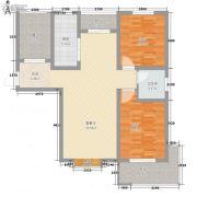 龙廷山水・东方�Z园2室1厅1卫91平方米户型图