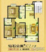 钻石公寓3室2厅2卫122平方米户型图