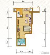 仁恒国际领寓1室1厅1卫42平方米户型图