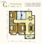万邦城3室2厅1卫103平方米户型图