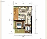 龙斗壹号・海岸城2室2厅1卫87平方米户型图