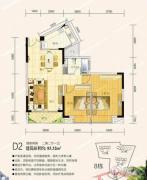 富川鸿景园2室2厅1卫83平方米户型图