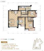 置地城3室2厅2卫89平方米户型图
