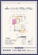 恒大都会广场1室2厅1卫66平方米户型图