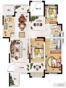 民安北郡3室2厅2卫124平方米户型图