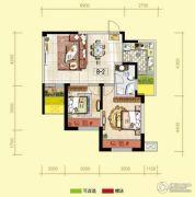 天居锦河丹堤2室2厅1卫80平方米户型图