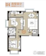 杰仕豪庭2室2厅1卫104平方米户型图