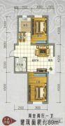 景康名苑2室2厅1卫89平方米户型图