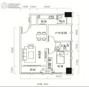 天祺佰潮汇1室1厅1卫56平方米户型图