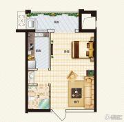 中弘中央广场1室1厅1卫40平方米户型图