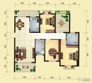 蓝湾国际城3室2厅2卫129平方米户型图