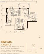 加州花园3室2厅2卫107平方米户型图