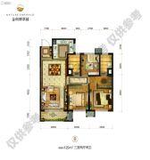 金科博翠园3室2厅2卫125平方米户型图