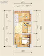 创意山2室2厅1卫36平方米户型图