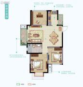 华丽家族太湖汇景2室2厅1卫95平方米户型图
