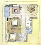 元邦明月水岸2室2厅1卫88平方米户型图