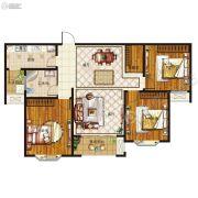 腾飞鹿鸣湖畔3室2厅1卫119平方米户型图