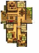 合力・铂金公馆3室2厅2卫127--130平方米户型图
