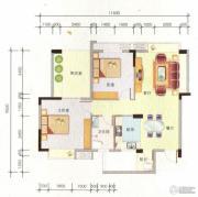 百丰花园2室2厅1卫88平方米户型图