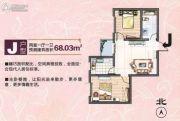 览山丽景2室1厅1卫68平方米户型图