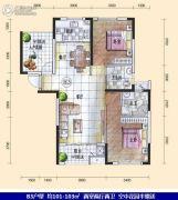 汇一城2室2厅2卫101平方米户型图