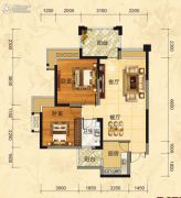 福庆花雨树2室2厅1卫83平方米户型图