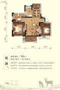 富春山居2室2厅1卫89平方米户型图