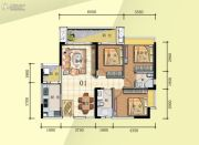 普君新城・华府3室2厅2卫103平方米户型图