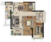 海�Z天翡3室2厅2卫108平方米户型图