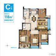 西溪蓝海4室2厅2卫118平方米户型图