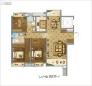 地铁万科时代广场3室2厅2卫120平方米户型图
