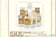 永顺东方塞纳4室2厅3卫180平方米户型图