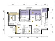 招商依云上城3室2厅1卫80平方米户型图