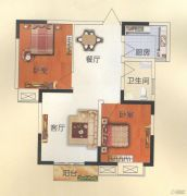 天鹅第一城2室2厅1卫87平方米户型图