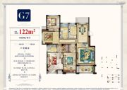 中梁・湖滨首府4室2厅2卫122平方米户型图