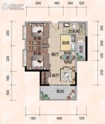 悦尚公馆2室2厅1卫76平方米户型图