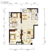 福星惠誉福星华府2室2厅1卫87平方米户型图