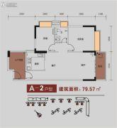 金碧丽江东海岸2室2厅1卫79平方米户型图
