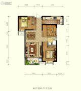 德杰状元府邸3室2厅1卫95平方米户型图