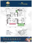 荣佳国韵3室2厅2卫92平方米户型图