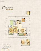 中天栖溪里2室2厅2卫143平方米户型图